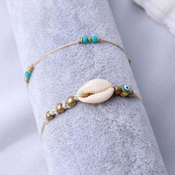 Leisure Simple Shell Bead Summer Two Layer Beach Women's Anklet