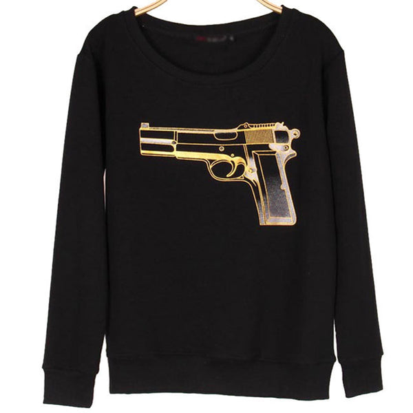 Solid Alien Gun Printing Hoodie Pullover Long Sleeves Women Sweater
