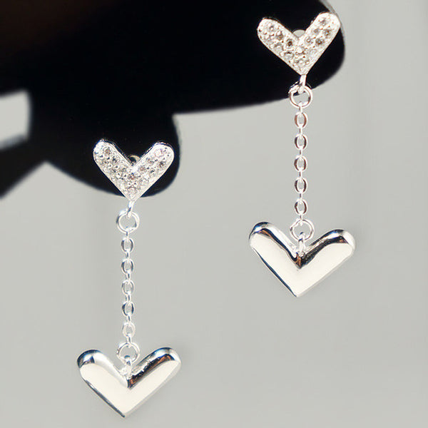 Cute Heart-shaped Hanging Silver Closer Hearts Diamond-bordered Polished Heart Women's Earring Studs