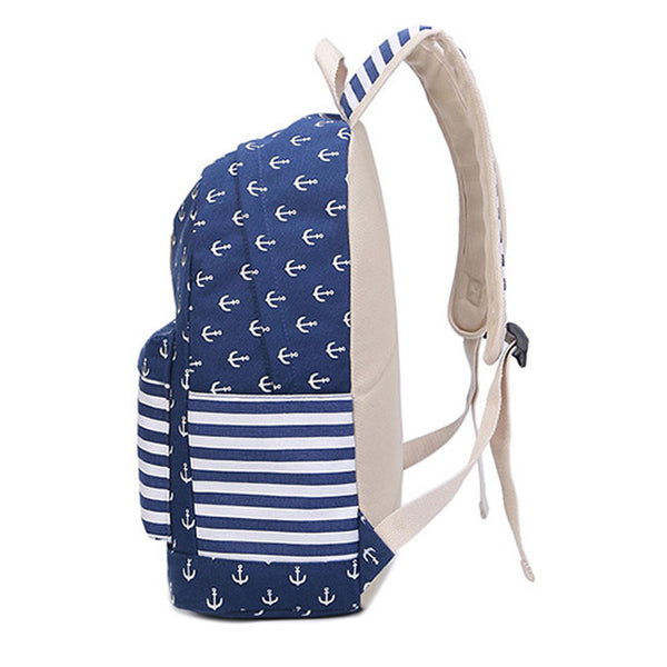 Fresh Navy Anchor Trunk Stripe Dot School Travel Bag Student Canvas Backpack