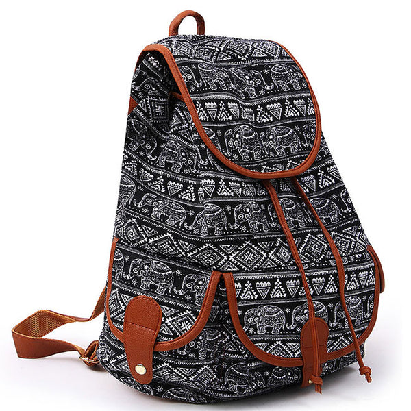 Geometric Patterns Printing Splicing PU Belt Flap Canvas Backpack