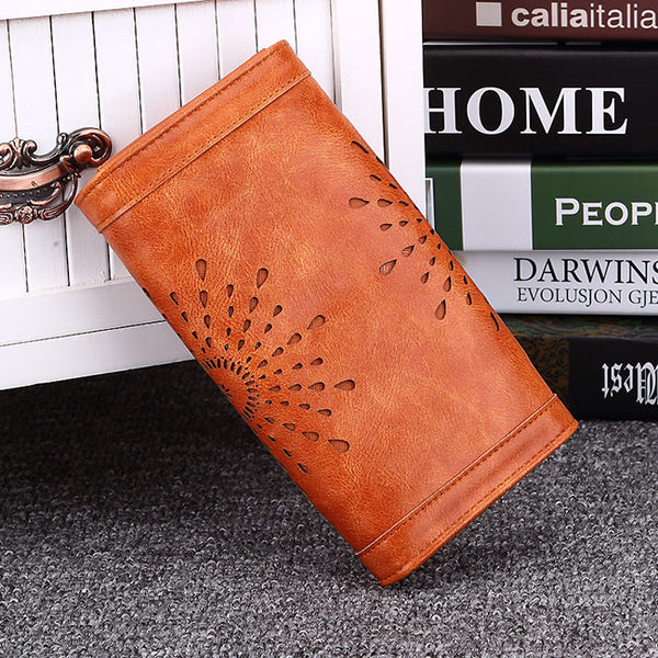 Fashion Hollow-out Flower Tri-fold Ladies Long Wallet Purse Clutch Bag