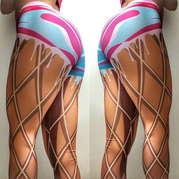 Cool Girl's Imitating Real Legs Lines Lace-up Printing Show Thin Visual Effect Leggings
