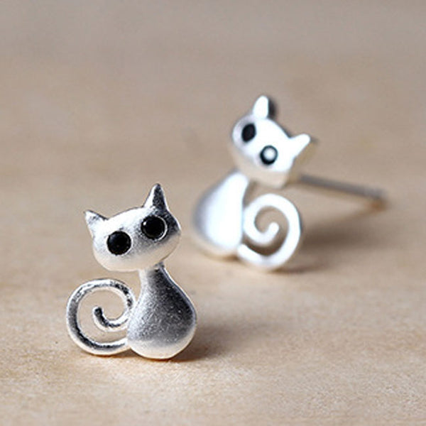 Cute Cat Kitten Earrings Personality 3D Animal Earrings Studs