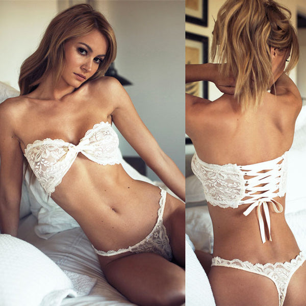 Sexy White Lace Strapless Back Cross Straps Underwear T-back See Through Women's Bikini Lingerie
