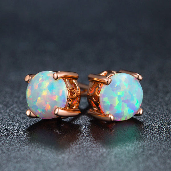 Unique Design Round Cute Opal Stud Earring Vintage Bridal Earrings Studs