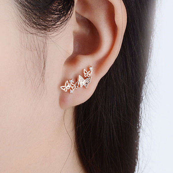 Fashion Women's Heart Bow Earrings Diamond Long Jewelry Butterfly Earrings Studs