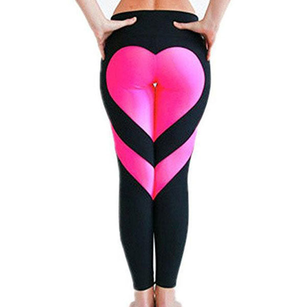 Fashion Sports Girl's Two Colors Heart Splicing Legging Showing Raised Buttocks Style Yoga Skinny Legging