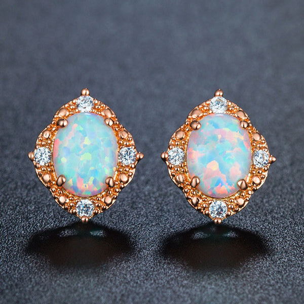 Unique Vintage Women's Stainless Steel Round Cubic Zirconia Earring Studs