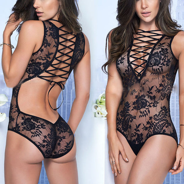 Sexy Front Back Cross Straps Backless Flower Embroidery One-piece Women's Lace See Through Lingerie