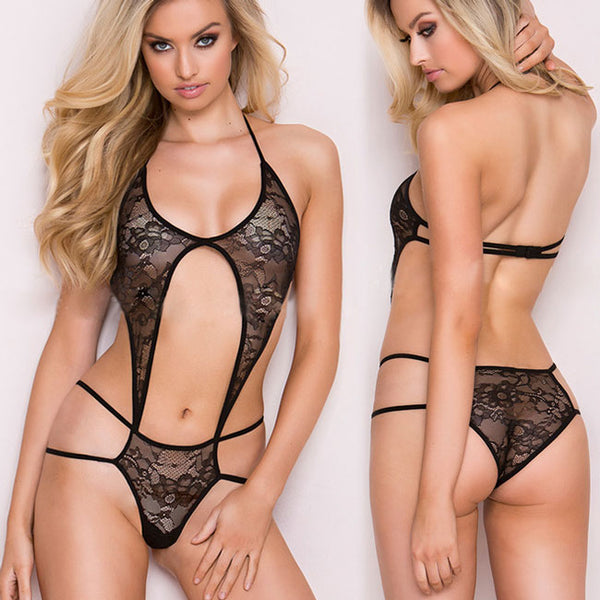 Sexy Front Backless Braces One-piece Bikini Women's Lace See Through Lingerie