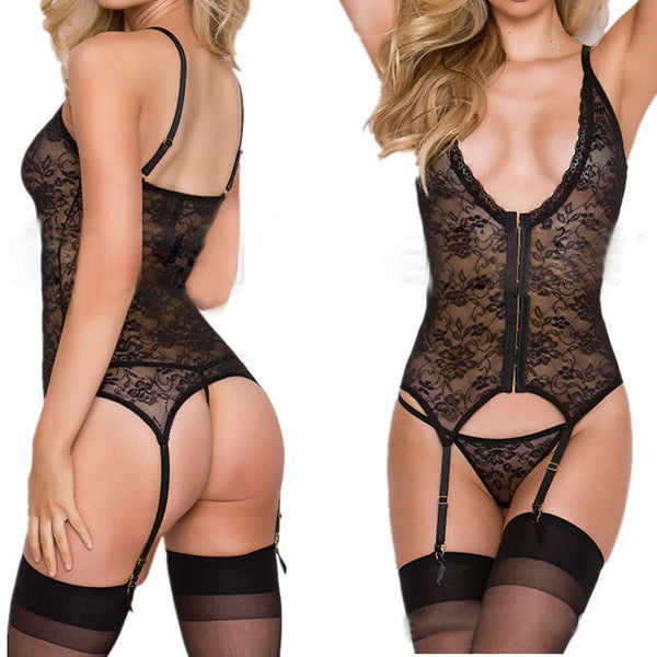 Sexy Lace Mesh See Through One-piece Waistcoat Deep V-neck Women's Lingerie