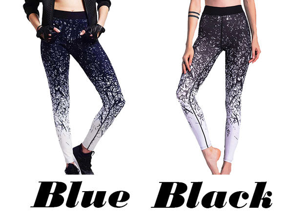 Retro Sports Jean Irregular Gradually Change Lines Printing Yoga Skinny Legging