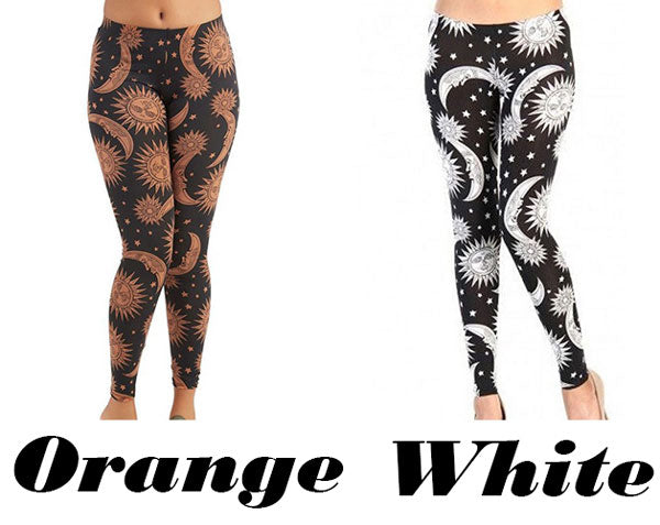 Fashion Orange Sunflowers Printing Ninth Women Skin Legging