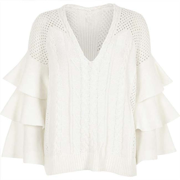 Flower Hollowed-out Twist Weave Falbala Sweater