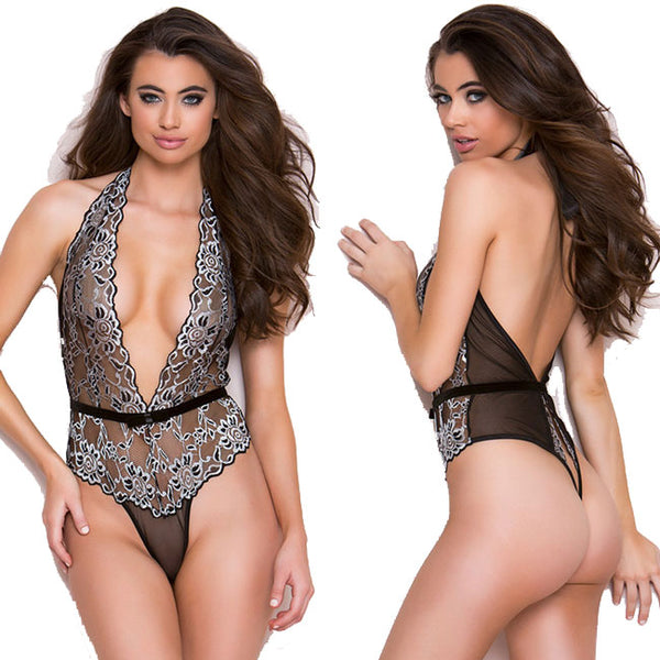 Sexy Backless Chemise Lace Stitching One Pieces Women's Lingerie