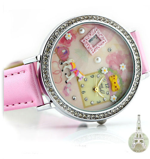 Sweet Pink Whitehorse Floral Polymer Clay Watch