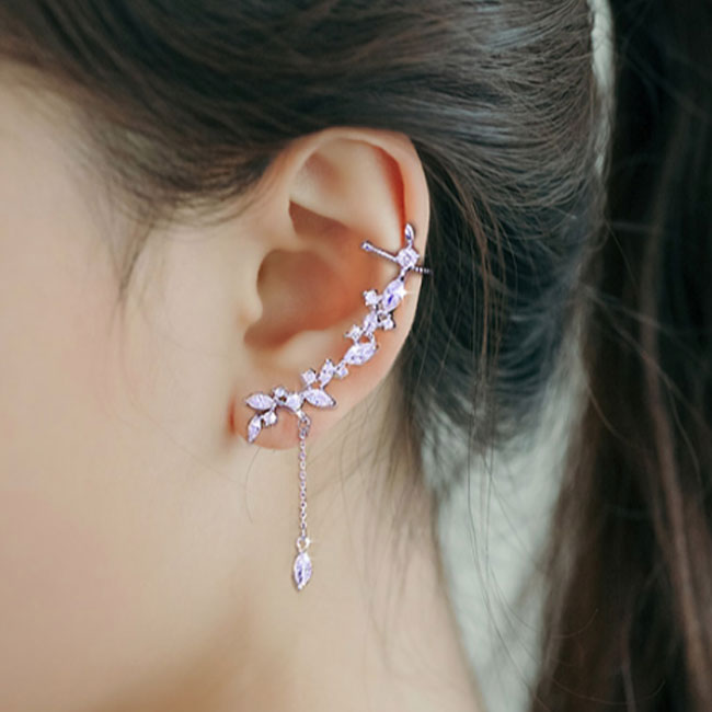 Fashion Crystal Tassel Ear Clip Silver Asymmetric Leaves Women Earrings