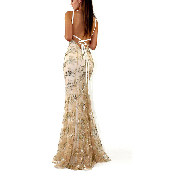 Sexy Deep V Neck Straps Sequin Party Dress Sexy Long Prom Dress