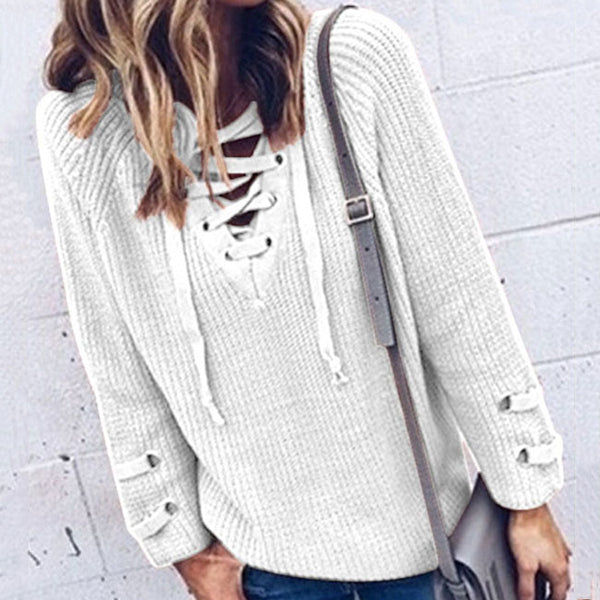 Lace-up V-neck Leisurely Sweater
