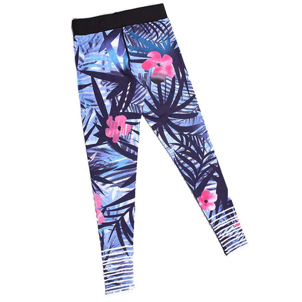 Fashion Girl's Tropical Plant Flowers And Leaves Printing Yoga Sports Ninth Skinny Legging