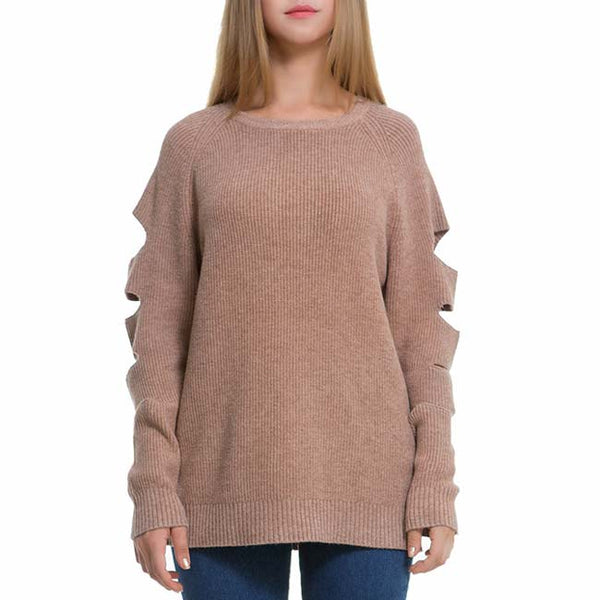 Ripped Sleeves Simple Whole Color Sweater