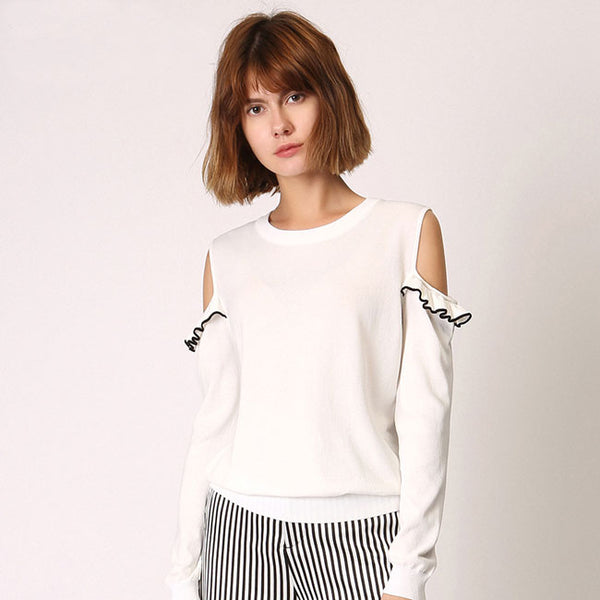 Flouncy Strapless Long-sleeved Sweater Top