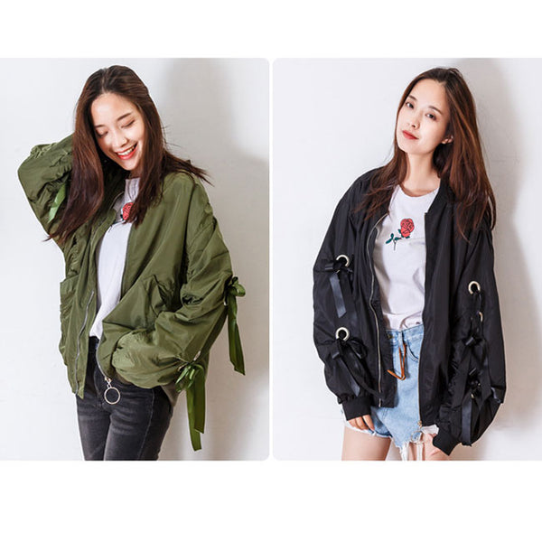 Fashion Women's Winter Frosted Ribbon Bow Puff Sleeves Bomber Jacket Zipper Jackets