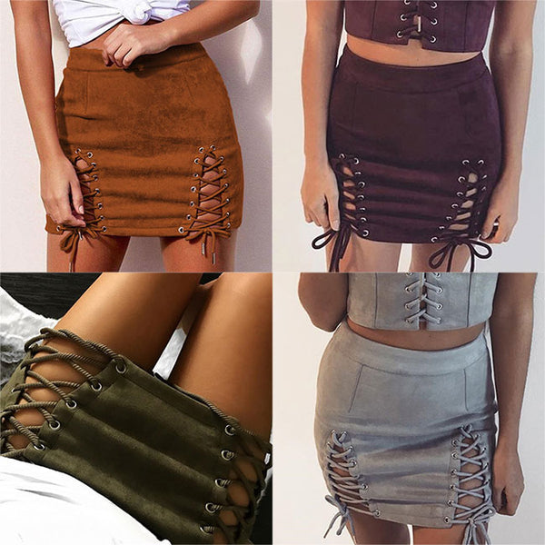 Sexy Suede Bandages Sexy Package Hip Bust Short Skirt