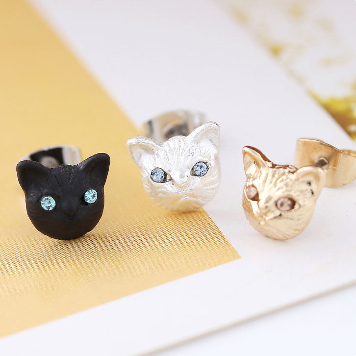 Cute Cat Face Earrings Animal Accessories Girls Kitten Earring Studs