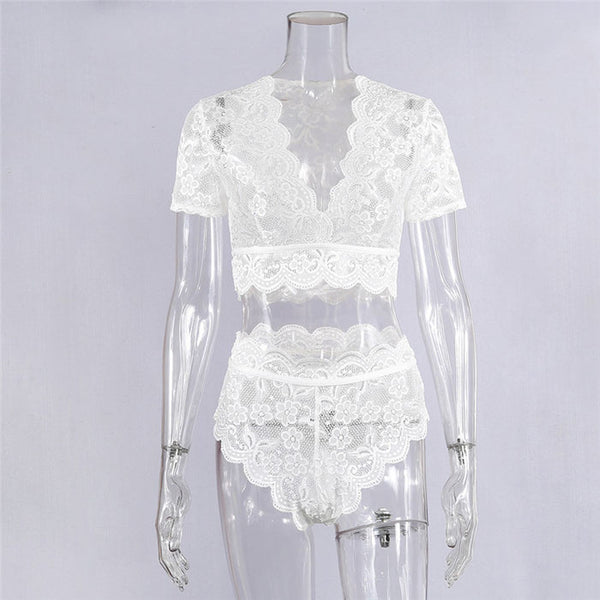 Sexy Flower Hollow Lace Short Sleeves Intimate High Waist Women's Lingerie