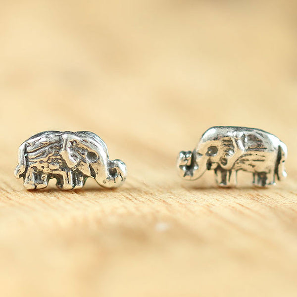 Handmade Cute Elephant Silver Women Bohemian Retro National Style Earring Studs