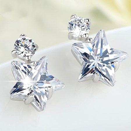 Unique Crystal Diamond-bordered  Silver Women Eardrop Star Earring Studs