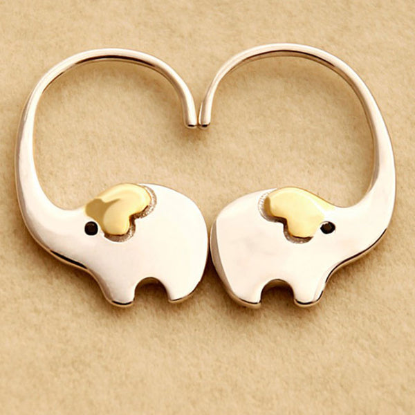 Cute Elephant Nose Hang Animal Earring Studs Silver Women Eardrop