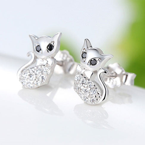 Cute Cat Diamond-bordered Animal Kitty Silver Women Earring Studs