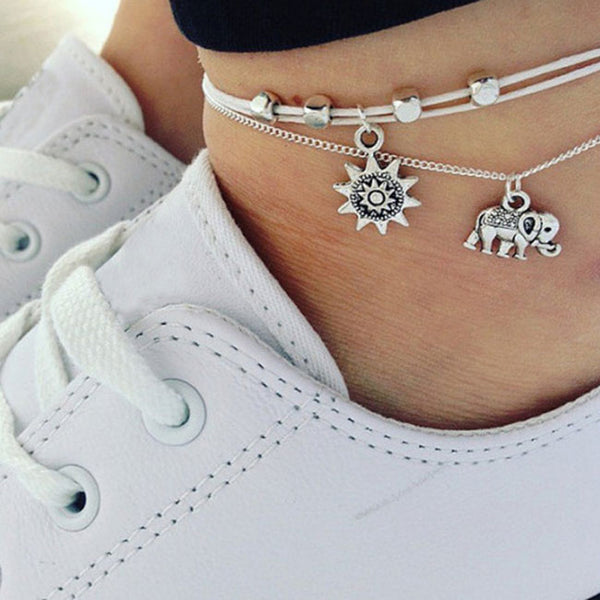 Leisure Three Tier Multilayer Ladies Anklet Foot Elephant Sun  Accessory Anklet