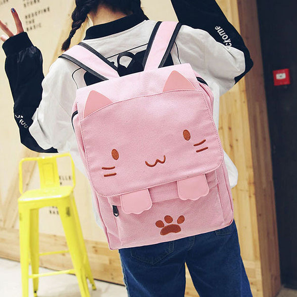 Cartoon Stereo Embroidery Cat Square Large Cute Kitten Canvas School Backpack