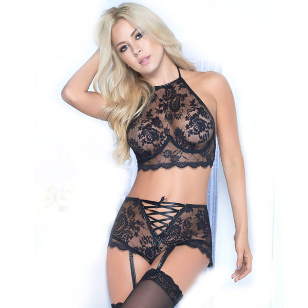 Sexy Waist Bundle Flower Bra Set Underwear Lace High Women Intimate Lingerie