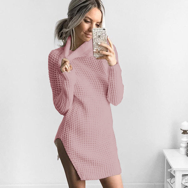 Sexy Long Sleeve Winter Women's Split High Collar Sweater Dress