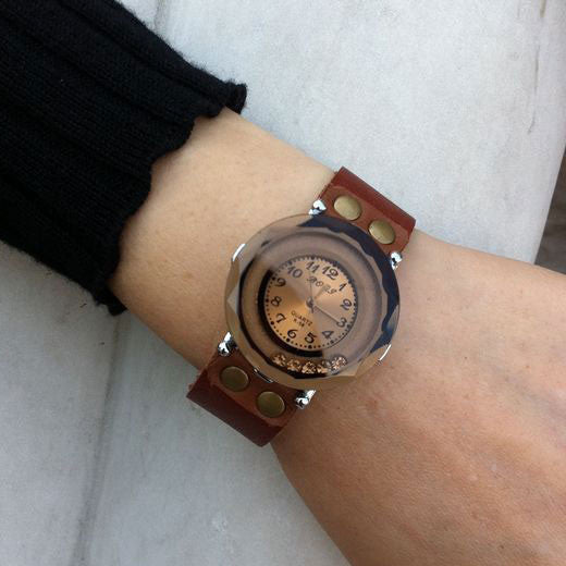 Retro Hollow Rhinestone Leather Watch - lilyby