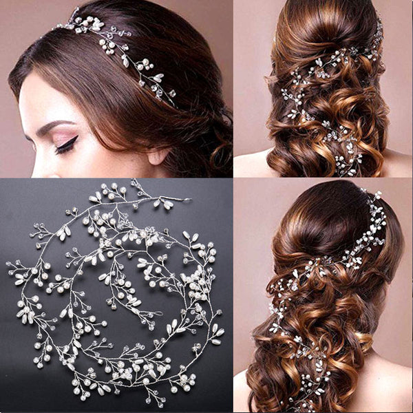 Cute Headband Wedding Hair Chain Leaves Pearl Branch Hair Accessories