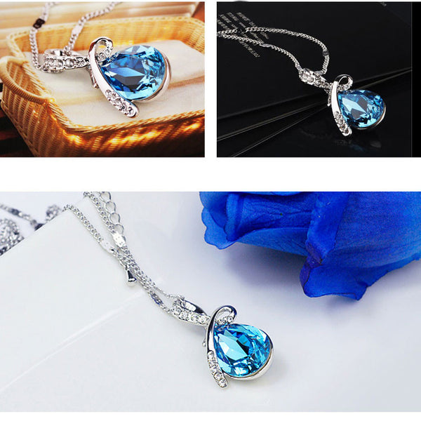 Diamond Angel Tears Crystal Necklace - lilyby