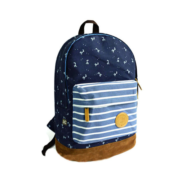 Sweet Cute Deer Strip Print Canvas Backpack