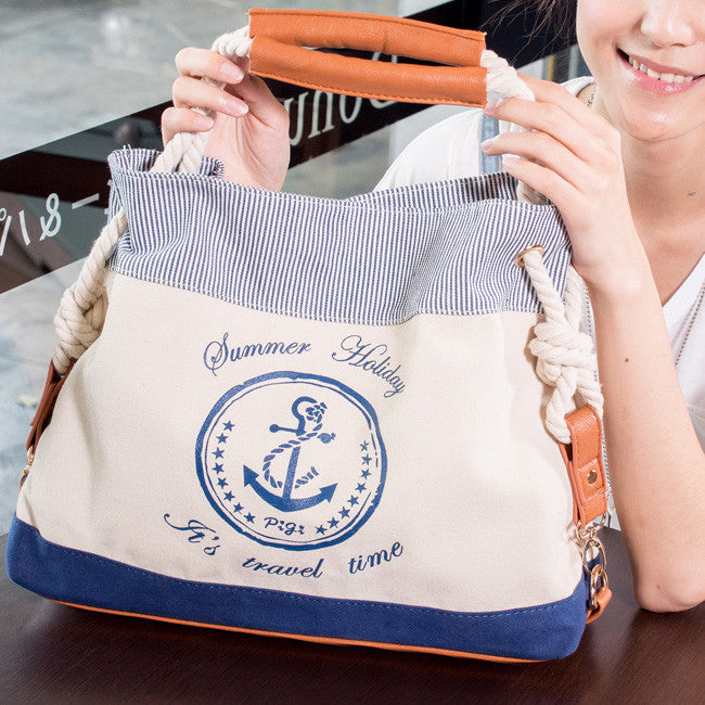 New Pretty Navy Anchor Print Handbag - lilyby