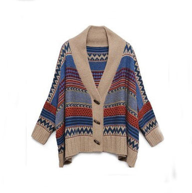 Folk Fashion Geometry Bat Sleeve Sweater &Cardigan - lilyby