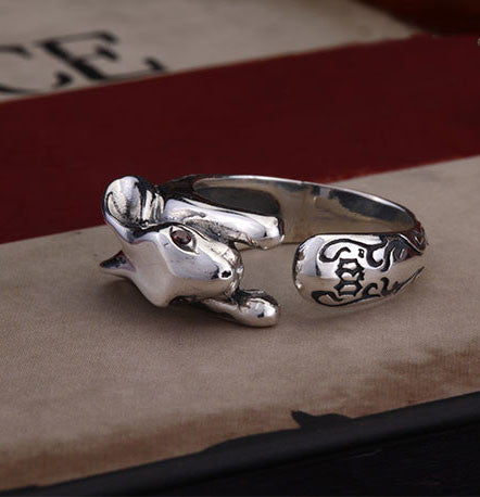 Individualized Carved Rabbit Animal Ring - lilyby