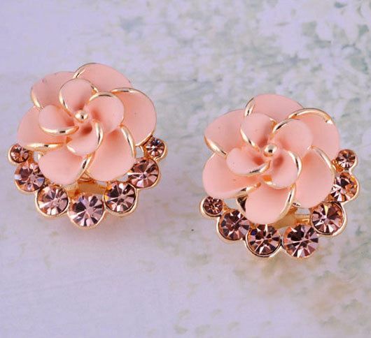 Graceful Camellia Rhinestone Earrings Stud - lilyby