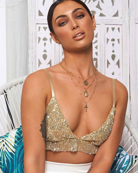 Sexy Wrapped Chest Bra Sling Sequins Summer Vest Lingerie