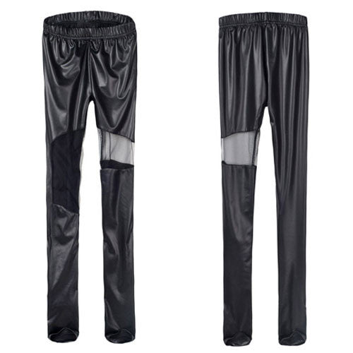 Sexy Leatherette Stitching Gauze Leggings - lilyby