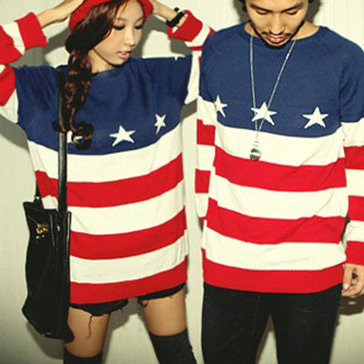New  American Flag Printed Sweater For Lovers - lilyby